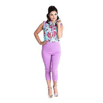 Hell Bunny lavande Tina Capri pantalons XL