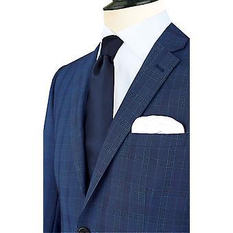 Dobell Mens blau kariert Jackett passen regelmäßige Kerbe Revers