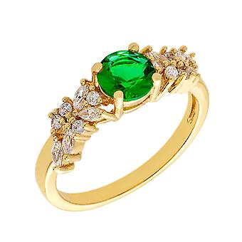 Bertha Juliet Collection Women's 18k YG Plated Green Cluster Fashion Ring Size 6