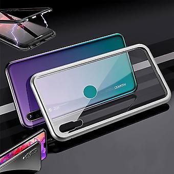 Für Huawei P30 Magnet / Metall / Glas Case Bumper Silber / Transparent Tasche Hülle Neu