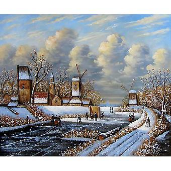 أوروبا المناظر الطبيعية اللوحة الزيتية على قماش، 50x60 سم