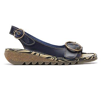 Fly London Tram Womens Blue Leather Wedge Sandals