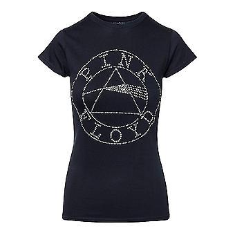 Women's Pink Floyd Circle Logo Diamante T-Shirt