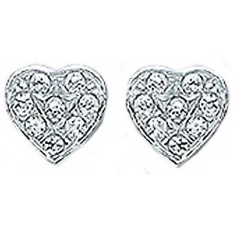 Bella Heart Cubic Zirkonia Set korva korut-hopea/valkoinen