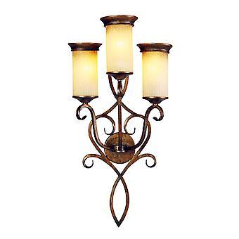 Glasberg - bruin drie lichte muur Lamp met geribbeld glas tinten 382020103