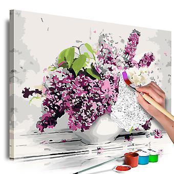 DIY lærred maleri - Vase and Flowers