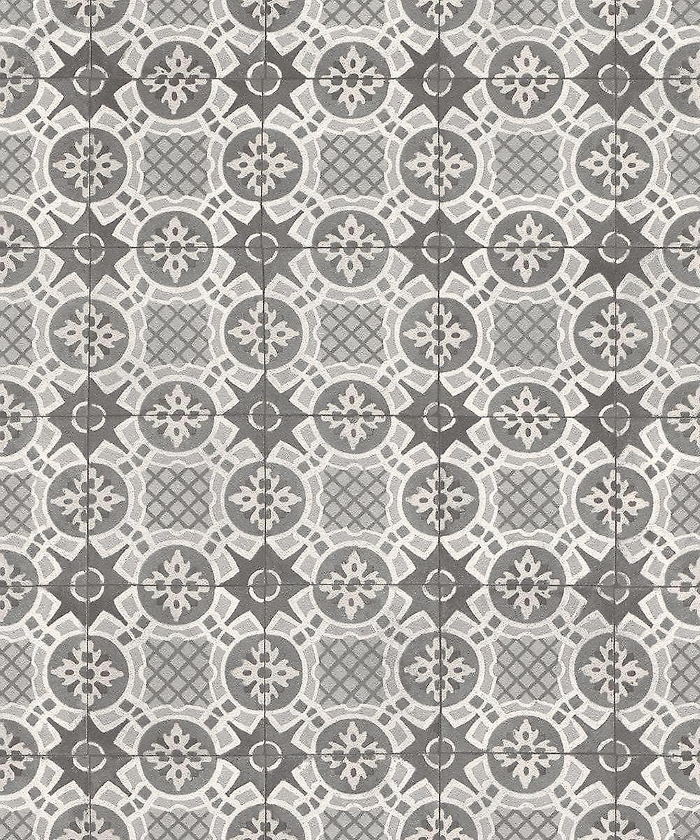 Rasch Tile Effect Wallpaper Ornament Moroccan Motif Black Grey White Paste Wall