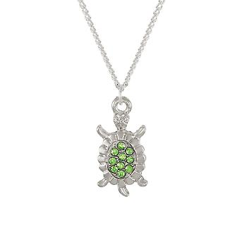 Eternal Collection Myrtle The Turtle Green Crystal Silver Tone Pendant