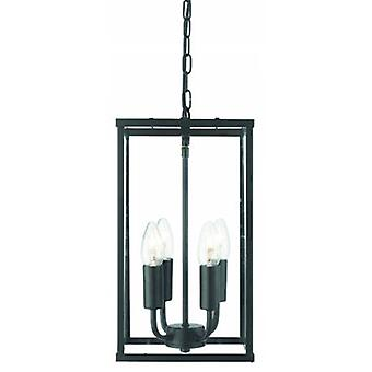 4 Light Ceiling Lantern Pendant Matt Black, Glass Panels