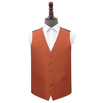 Rust Plain Shantung Wedding Waistcoat