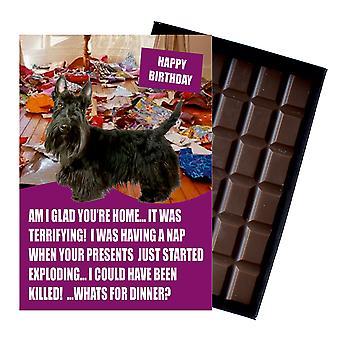 Scottish Terrier divertido cumpleaños regalos para el amante del perro en caja de chocolate tarjeta de felicitación presente