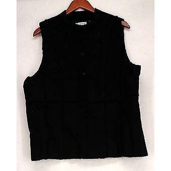 Susan Graver Faux Suede w/ Faux Fur Lining Black Vest A209954