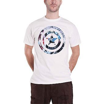 كابتن أمريكا رجالي تي شيرت أبيض الأعجوبة كاريكاتير درع ضرب المسؤول