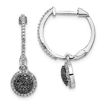 925 Sterling Silver Dangle Black and White Diamond Hinged Hoop Earrings Jewelry Gifts for Women