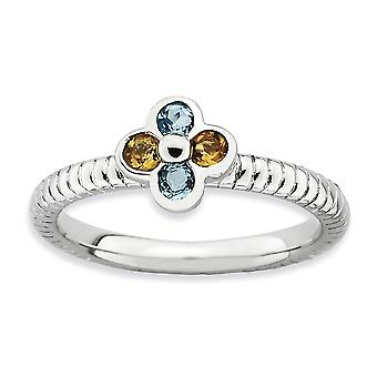 2.25mm 925 Sterling Silver Bezel Polished Rhodium plated Stackable Expressions Blue Topaz and Citrine Flower Ring Jewelr