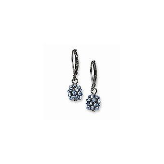 Black Plating Black plated Blue Crystal Fireball Leverback Earrings Jewelry Gifts for Women