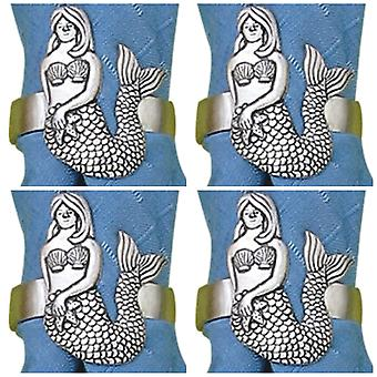 Nautical Pewter Mermaid Napkin Rings Set of 4
