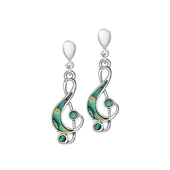 Eternal Collection Revue Paua Shell Treble Clef Silver Tone Drop Clip On Earrings