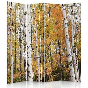 Raumteiler, 4 Paneele, Doppelseitig, 360 ° drehbar, Leinwand, Birkenwald im Herbst