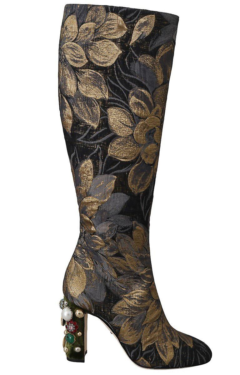 Gold Jacquard High Knee Boots