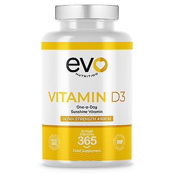 Vitamin D3 (365 Softgels) 4000IU/100µg High Strength - Evo Nutrition