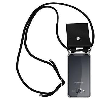 Cadorabo caso cadeia de telefone para Samsung Galaxy J5 2015 caso capa-silicone bainha de ombro colar com anéis de prata-cabo de fita cordão e estojo removível caso de proteção