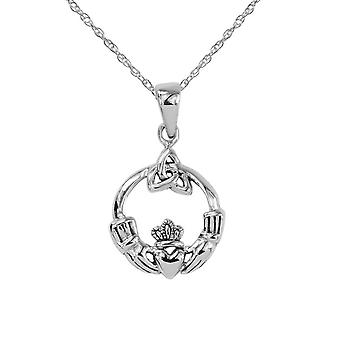 "Celtic Irish Claddagh Love Loyalty And Friendship Round Shape Small Necklace Pendant - Includes A 20"" Silver Chain"