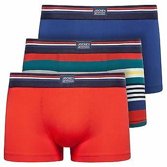 Jockey Cotton Stretch 3-Pack Short Trunks, Red Flame, Small