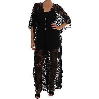 Dolce & Gabbana Black Floral Lace Crystal Dress