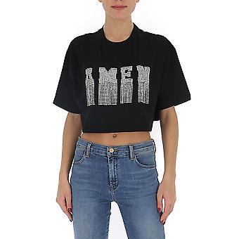 Amen Ams20237009 Kvinnor's Black Cotton T-shirt