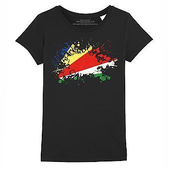 STUFF4 Girl's Round Neck T-Shirt/Seychelles Flag Splat/Black