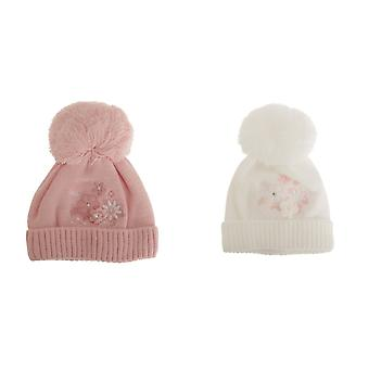 Baby Girls Floral Winter Bobble Hat