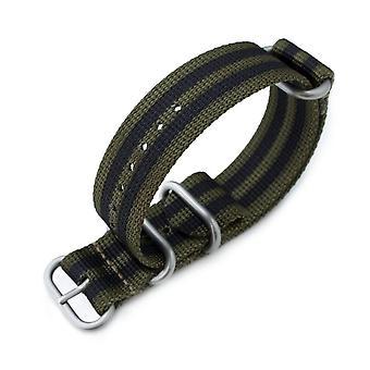Strapcode n.a.t.o bracelet de montre miltat 22mm ou 24mm 3 anneaux g10 groupe en nylon balistique zoulou, vert forêt et rayures noires, boucle sablée