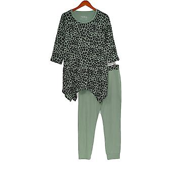 Anybody Women's Lounge Set Cozy Knit Leopard Top & Leggings Green A367656