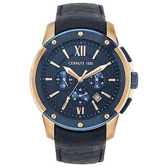 Watch Cerruti CRA28201-monitoimilaitteet Chronograph nahka Blue Steel Steel Pink miehet