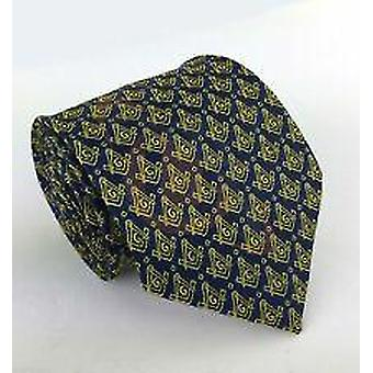 Cravatta massonica con bussola quadrata dorata