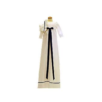 Baptism Gown And Bonnet In White Linen And Navy Blue Decoration, Grace Of Sweden