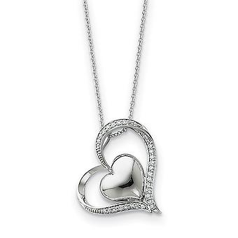 925 Sterling Silver Polished Gift Boxed Spring Ring Rhodium plated CZ Cubic Zirconia Simulated Diamond Love Heart Neckla