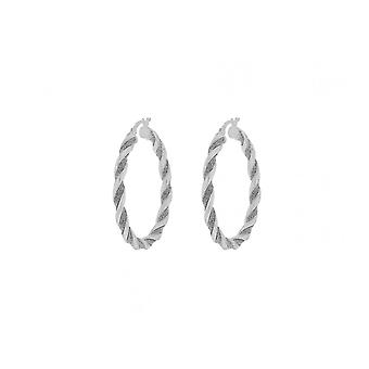 Eternity Sterling Silver Large Twisted Glitter Creole Earrings