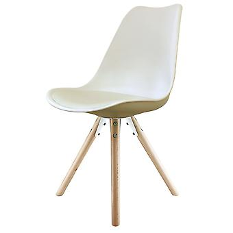 Fusion Living Eiffel Inspired Vanilla Plastic Dining Chair With Pyramid Light Wood Legs