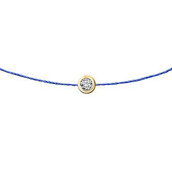 Choker Diamond Solitaire 0.15 karaat 18K Goud, op Thread - Geel Goud, RoyalBlue