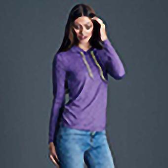 Anvil Womens/Ladies Fashion Plain Long Sleeve Hooded T-Shirt