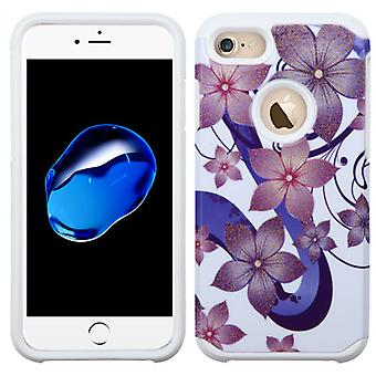 Asmyna Advanced Armor Protector Custodia per iPhone SE2/8/7 - Viola Hibiscus Fiore/Bianco