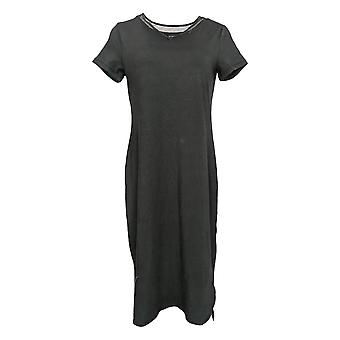 H by Halston Dress Midi Length Hi-Low T-Shirt Style Black A349281