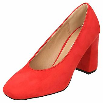 Koi Footwear Red Faux Suede Style Block High Heel Court Shoes