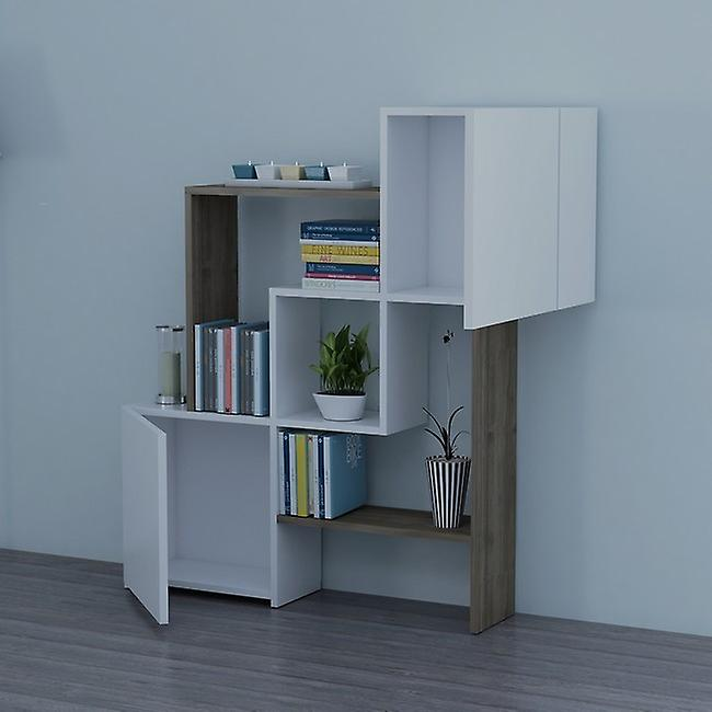 Libreria Lorenz Colore Bianco, Noce in Truciolare Melaminico, L118,2xP24xA121,8 cm