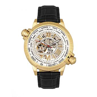 Reign Thanos Automatic Leather-Band Watch - Gold/White