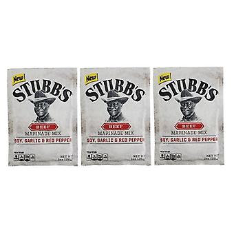 Stubb's Beef Marinade Mix Soy, Garlic & Red Pepper 3 Packet Pack