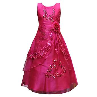 Flower Girls Formal Layered Wedding Dresses Bridesmaid Party Dress in Fuchsia