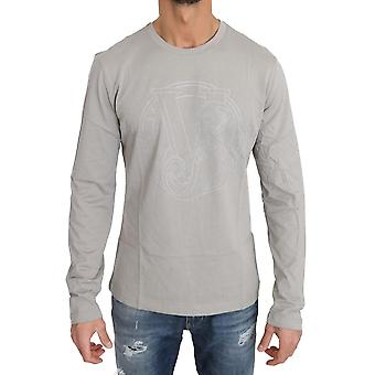 Versace Jeans Grå bomull Silver Dubbade Tiger Crewneck